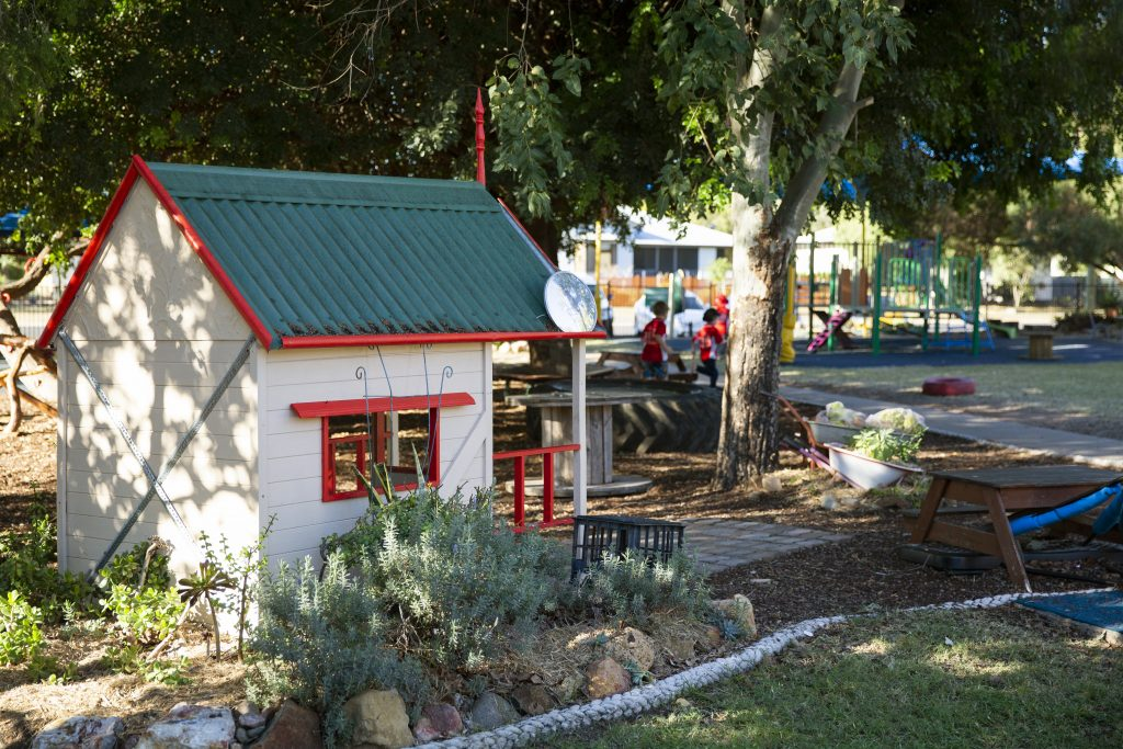 Dalby Beck Street Kindergarten cubby house in play ground